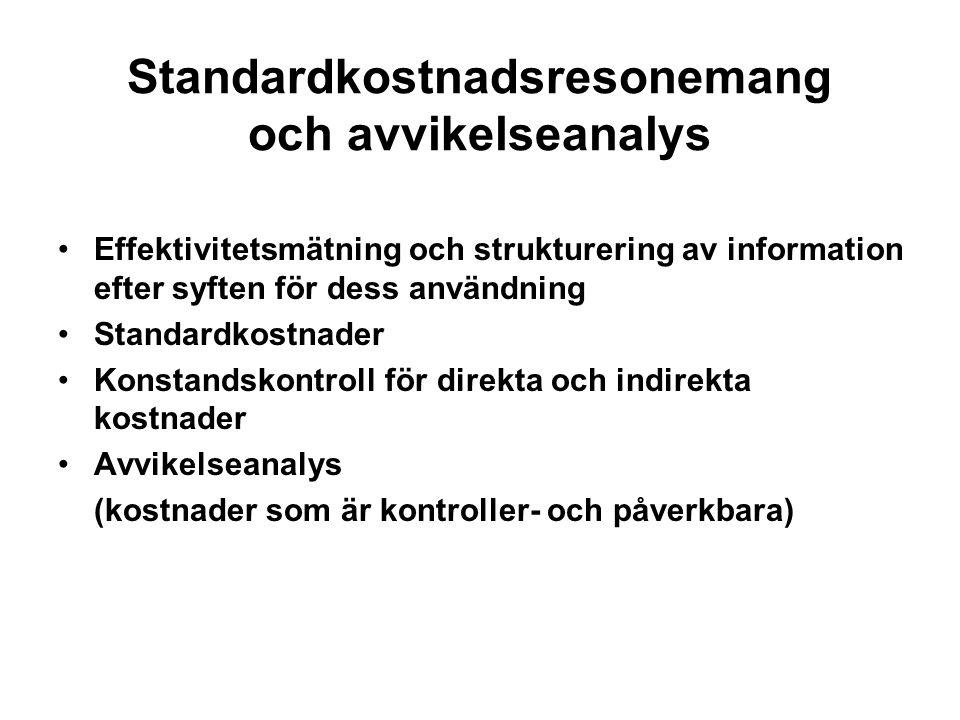 Standardkostnadsresonemang och avvikelseanalys Effektivitetsmätning och strukturering av information efter syften för dess användning Standardkostnader Konstandskontroll för direkta och indirekta kostnader Avvikelseanalys (kostnader som är kontroller- och påverkbara)
