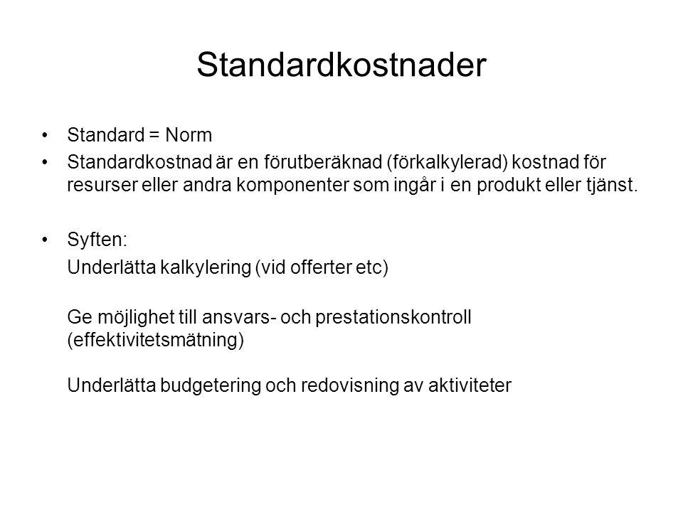 Standardkostnader Standard = Norm Standardkostnad är en förutberäknad (förkalkylerad) kostnad för resurser eller andra komponenter som ingår i en produkt eller tjänst.