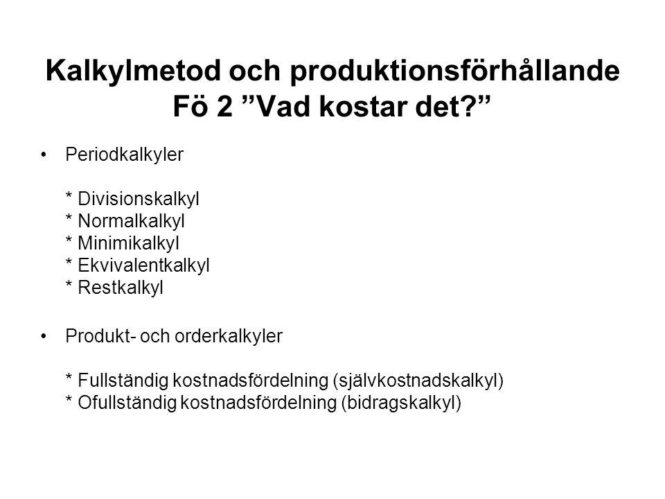 """Kalkylmetod och produktionsförhållande Fö 2 """"Vad kostar det?"""" Periodkalkyler * Divisionskalkyl * Normalkalkyl * Minimikalkyl * Ekvivalentkalkyl * Rest"""