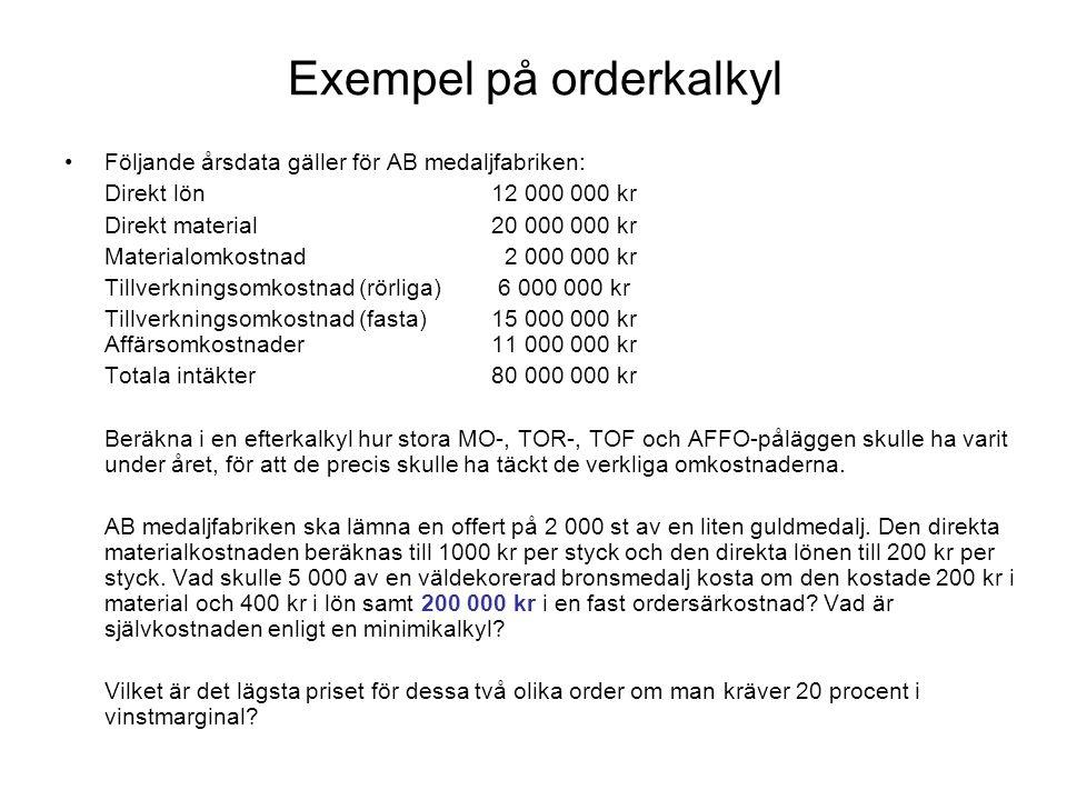 Exempel på orderkalkyl Följande årsdata gäller för AB medaljfabriken: Direkt lön12 000 000 kr Direkt material20 000 000 kr Materialomkostnad 2 000 000