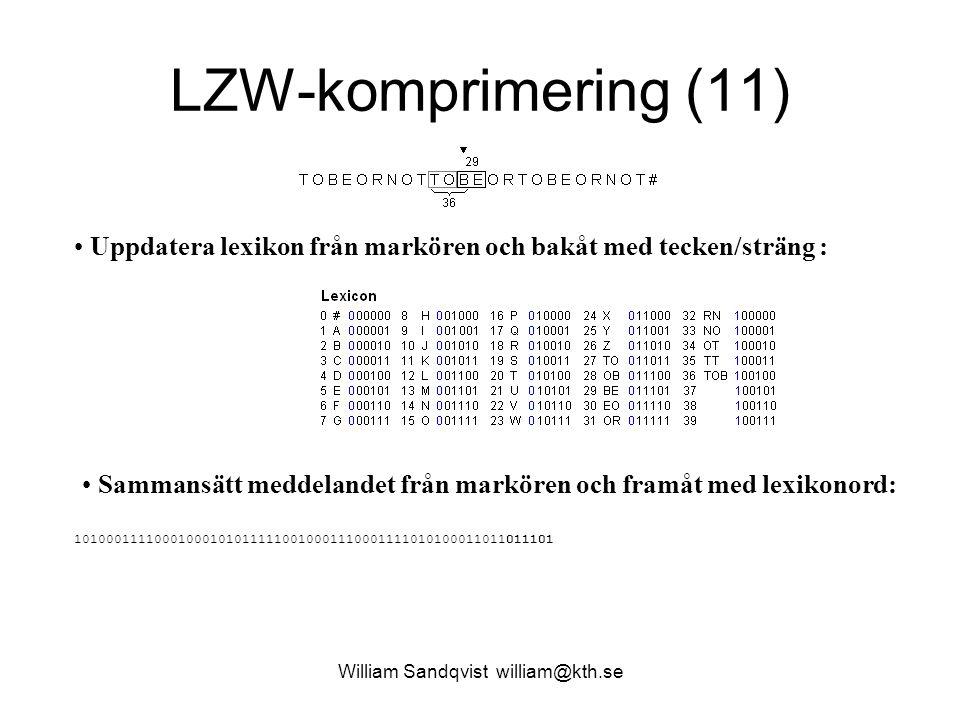 William Sandqvist william@kth.se LZW-komprimering (11) Uppdatera lexikon från markören och bakåt med tecken/sträng : Sammansätt meddelandet från markören och framåt med lexikonord: 101000111100010001010111110010001110001111010100011011011101