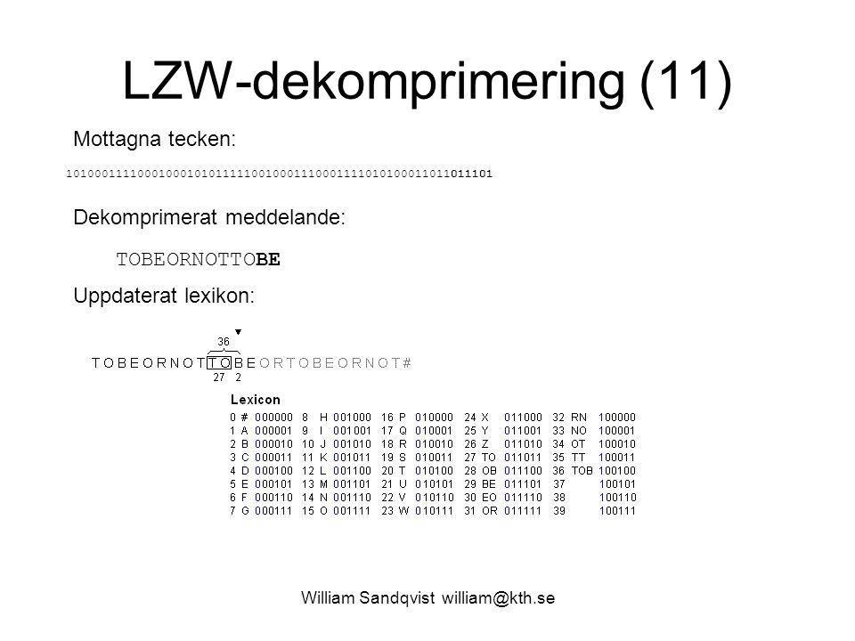 William Sandqvist william@kth.se LZW-dekomprimering (11) Mottagna tecken: 101000111100010001010111110010001110001111010100011011011101 Dekomprimerat meddelande: TOBEORNOTTOBE Uppdaterat lexikon: