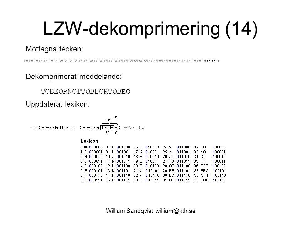 William Sandqvist william@kth.se LZW-dekomprimering (14) Mottagna tecken: 101000111100010001010111110010001110001111010100011011011101011111100100011110 Dekomprimerat meddelande: TOBEORNOTTOBEORTOBEO Uppdaterat lexikon:
