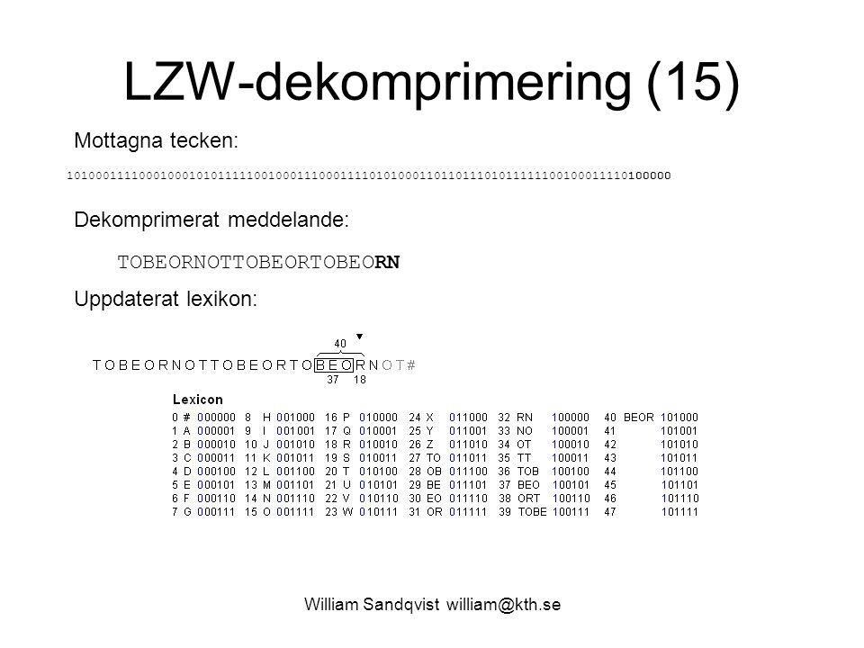 William Sandqvist william@kth.se LZW-dekomprimering (15) Mottagna tecken: 1010001111000100010101111100100011100011110101000110110111010111111001000111