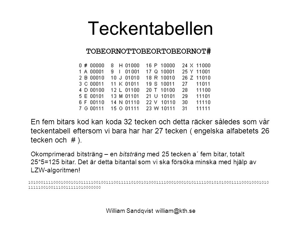 William Sandqvist william@kth.se Teckentabellen TOBEORNOTTOBEORTOBEORNOT# En fem bitars kod kan koda 32 tecken och detta räcker således som vår tecken