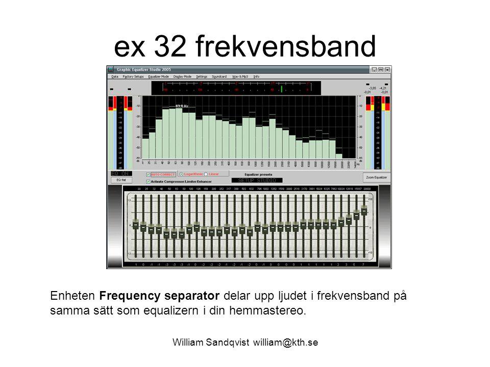 William Sandqvist william@kth.se ex 32 frekvensband Enheten Frequency separator delar upp ljudet i frekvensband på samma sätt som equalizern i din hemmastereo.