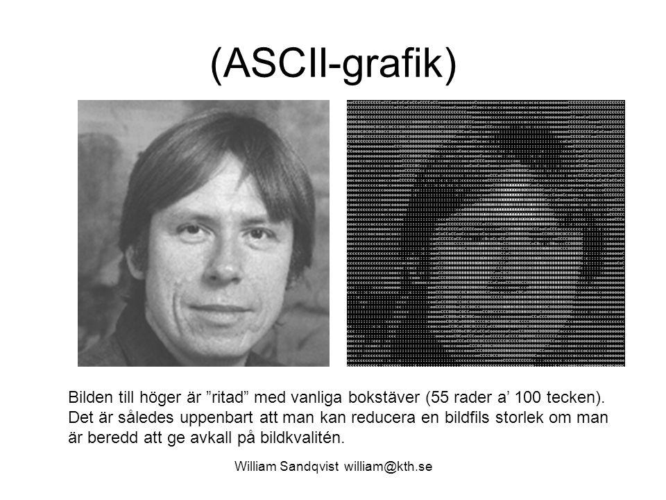 """(ASCII-grafik) William Sandqvist william@kth.se Bilden till höger är """"ritad"""" med vanliga bokstäver (55 rader a' 100 tecken). Det är således uppenbart"""