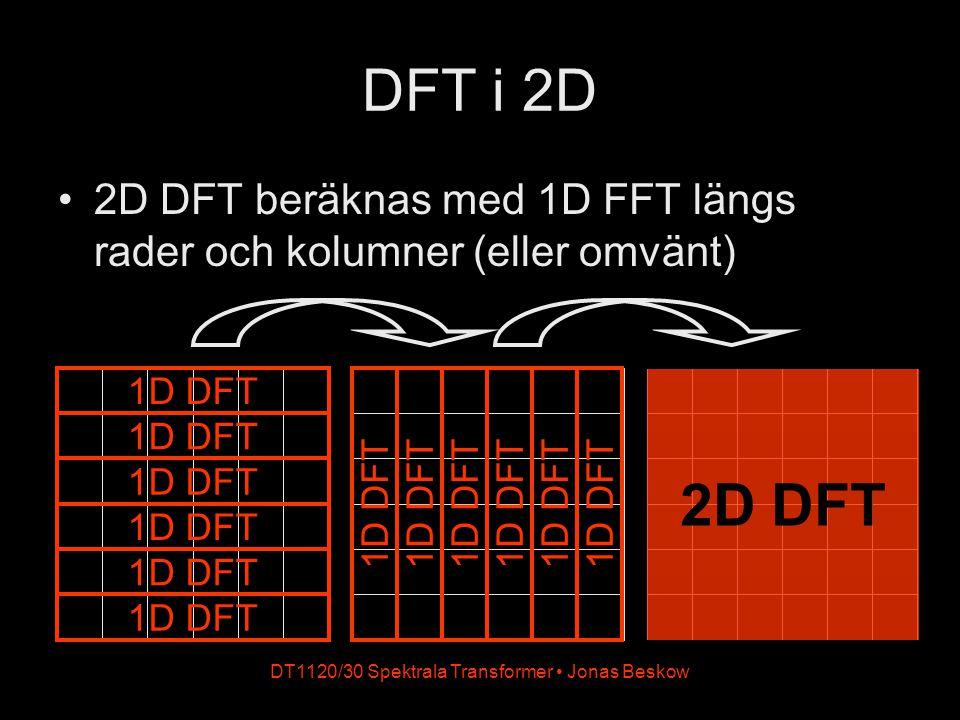 DT1120/30 Spektrala Transformer Jonas Beskow DFT i 2D 2D DFT beräknas med 1D FFT längs rader och kolumner (eller omvänt) 1D DFT 2D DFT