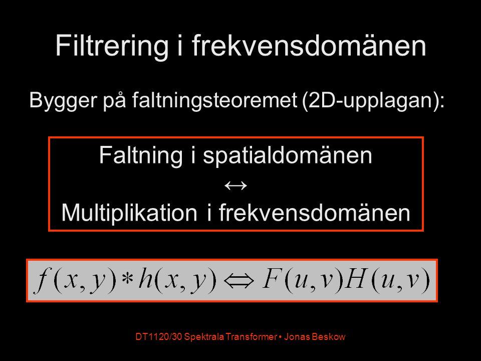 DT1120/30 Spektrala Transformer Jonas Beskow Filtrering i frekvensdomänen Bygger på faltningsteoremet (2D-upplagan): Faltning i spatialdomänen ↔ Multi