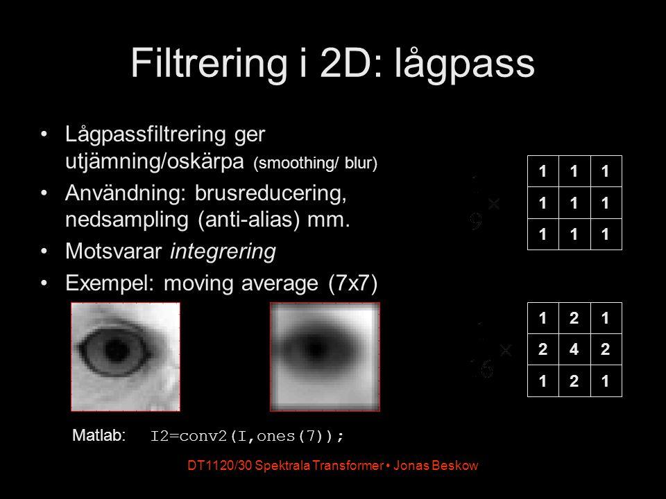 DT1120/30 Spektrala Transformer Jonas Beskow Filtrering i 2D: lågpass Lågpassfiltrering ger utjämning/oskärpa (smoothing/ blur) Användning: brusreduce