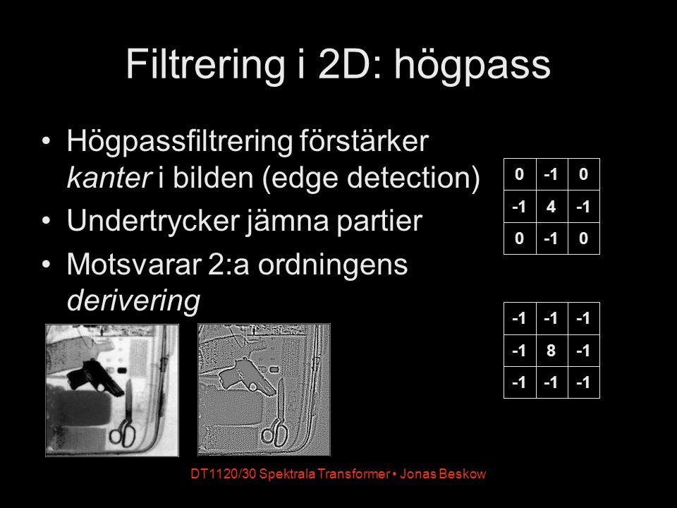 DT1120/30 Spektrala Transformer Jonas Beskow Filtrering i 2D: högpass Högpassfiltrering förstärker kanter i bilden (edge detection) Undertrycker jämna