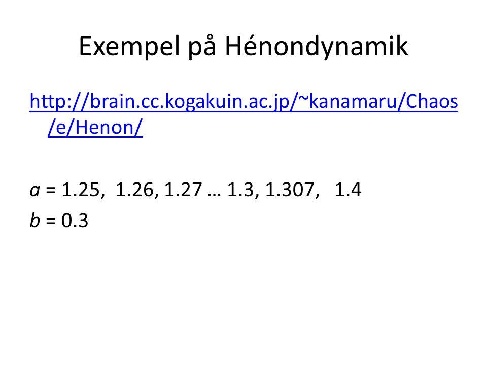 Exempel på Hénondynamik http://brain.cc.kogakuin.ac.jp/~kanamaru/Chaos /e/Henon/ a = 1.25, 1.26, 1.27 … 1.3, 1.307, 1.4 b = 0.3