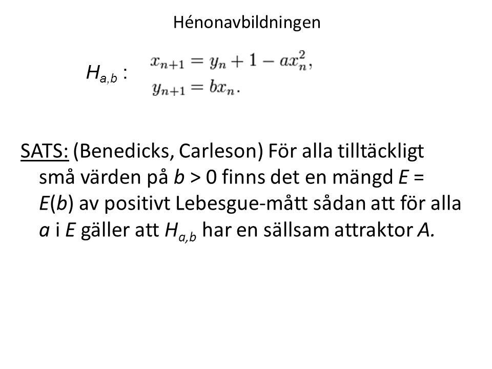 Hénonavbildningen SATS: (Benedicks, Carleson) För alla tilltäckligt små värden på b > 0 finns det en mängd E = E(b) av positivt Lebesgue-mått sådan att för alla a i E gäller att H a,b har en sällsam attraktor A.