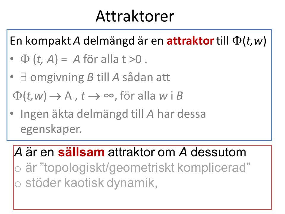 Attraktorer En kompakt A delmängd är en attraktor till  (t,w)  (t, A) = A för alla t >0.