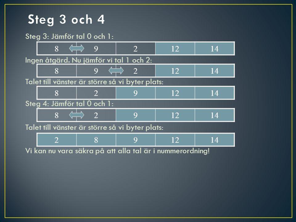 Steg 3: Jämför tal 0 och 1: Ingen åtgärd. Nu jämför vi tal 1 och 2: Talet till vänster är större så vi byter plats: Steg 4: Jämför tal 0 och 1: Talet