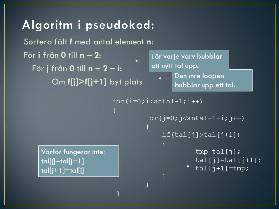 Sortera fält f med antal element n: För i från 0 till n – 2: För j från 0 till n – 2 – i: Om f[j]>f[j+1] byt plats Den inre loopen bubblar upp ett tal