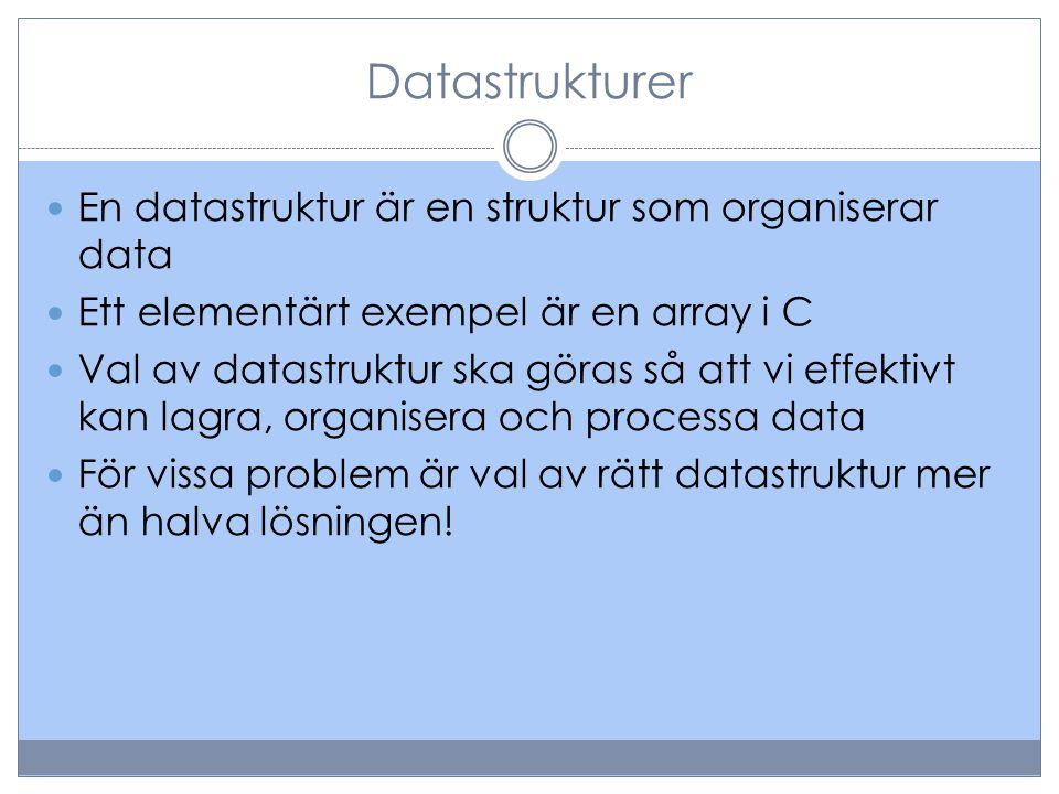 Abstrakta datastrukturer Exempel på datastrukturer:  stack, kö, lista, prioritetskö, träd, graf(-ADT)  array, länkad lista, heap(-implementeringar) En abstrakta datastruktur (ADT-abstract data type) definieras via operationerna som kan utföras utan att diskutera implementation  En stack kan definieras via push (som lägger ett element överst i stacken) och pop (som returnerar översta elementet i stacken)  En stack kan implementeras med en array eller en länkad lista  Det finns flera möjliga definitioner av tex en stack-ADT
