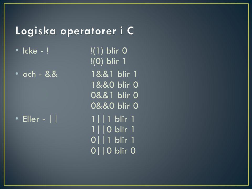 Icke - !!(1) blir 0 !(0) blir 1 och - &&1&&1 blir 1 1&&0 blir 0 0&&1 blir 0 0&&0 blir 0 Eller - ||1||1 blir 1 1||0 blir 1 0||1 blir 1 0||0 blir 0
