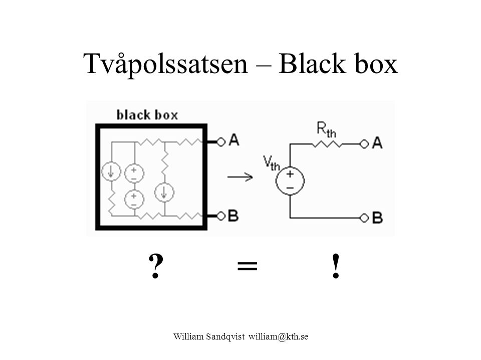 William Sandqvist william@kth.se Tvåpolssatsen – Black box ? = !