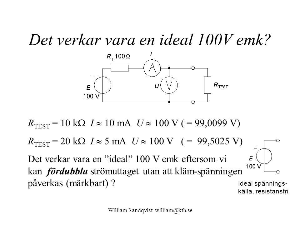 William Sandqvist william@kth.se Superposition, bara 3V-emk Vrid ner 10V emken till 0 och beräkna bidraget I' från 3V emken till I.