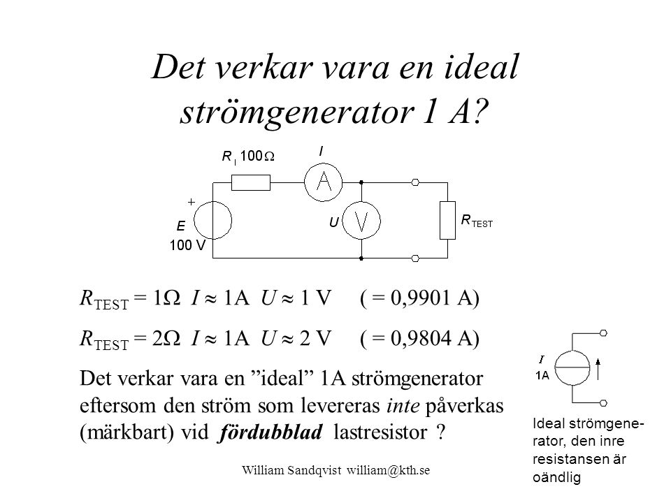 William Sandqvist william@kth.se Det verkar vara en ideal strömgenerator 1 A? R TEST = 1  I  1A U  1 V ( = 0,9901 A) R TEST = 2  I  1A U  2 V (