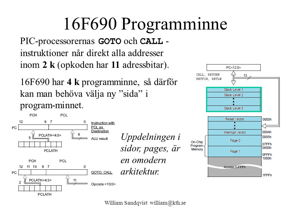 William Sandqvist william@kth.se 16F690 Programminne PIC-processorernas GOTO och CALL - instruktioner når direkt alla addresser inom 2 k (opkoden har