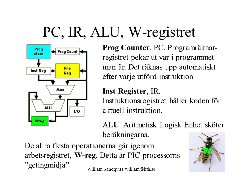 William Sandqvist william@kth.se PC, IR, ALU, W-registret Prog Counter, PC. Programräknar- registret pekar ut var i programmet man är. Det räknas upp