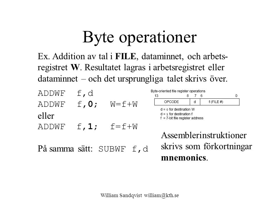 William Sandqvist william@kth.se Byte operationer Ex. Addition av tal i FILE, dataminnet, och arbets- registret W. Resultatet lagras i arbetsregistret