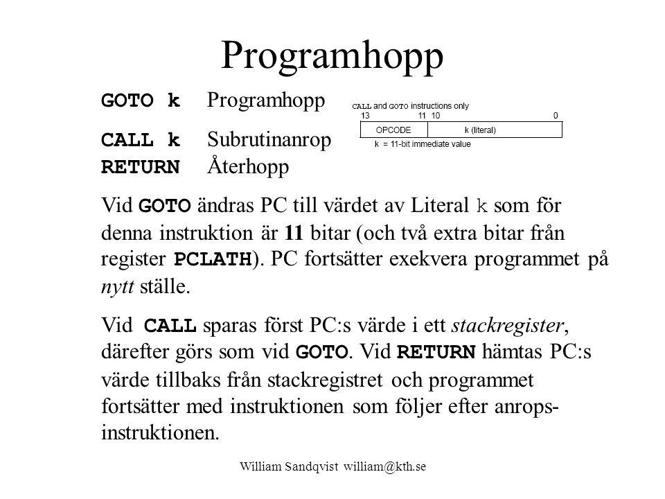 William Sandqvist william@kth.se Programhopp GOTO k Programhopp CALL k Subrutinanrop RETURN Återhopp Vid GOTO ändras PC till värdet av Literal k som för denna instruktion är 11 bitar (och två extra bitar från register PCLATH ).