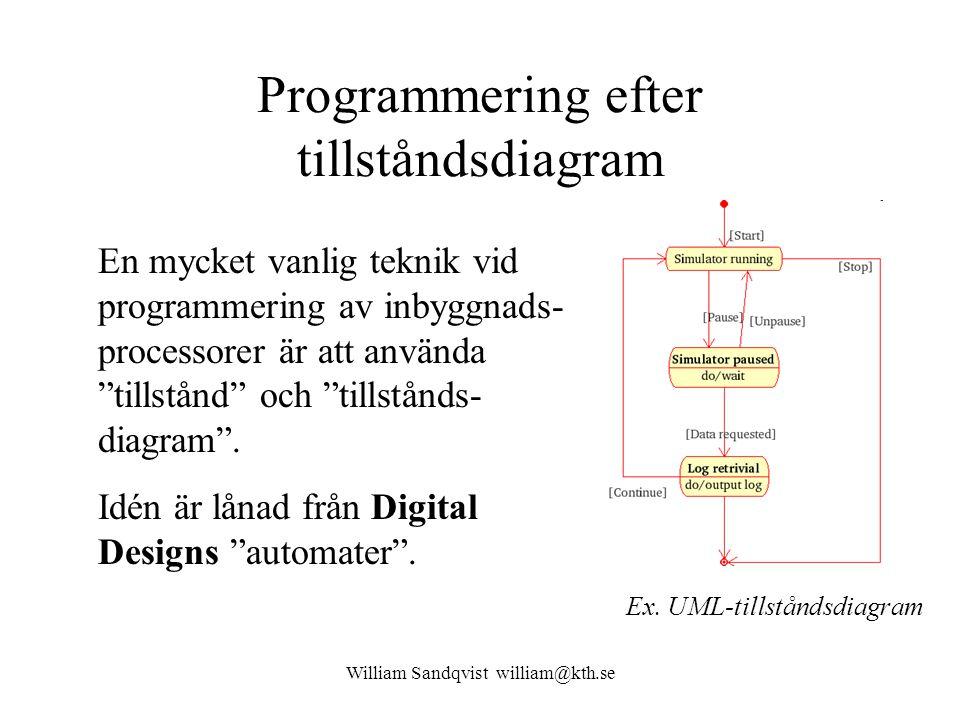 William Sandqvist william@kth.se Programmering efter tillståndsdiagram En mycket vanlig teknik vid programmering av inbyggnads- processorer är att använda tillstånd och tillstånds- diagram .