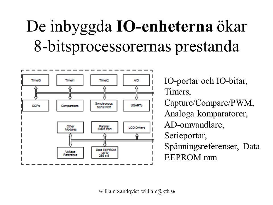 De inbyggda IO-enheterna ökar 8-bitsprocessorernas prestanda William Sandqvist william@kth.se IO-portar och IO-bitar, Timers, Capture/Compare/PWM, Analoga komparatorer, AD-omvandlare, Serieportar, Spänningsreferenser, Data EEPROM mm