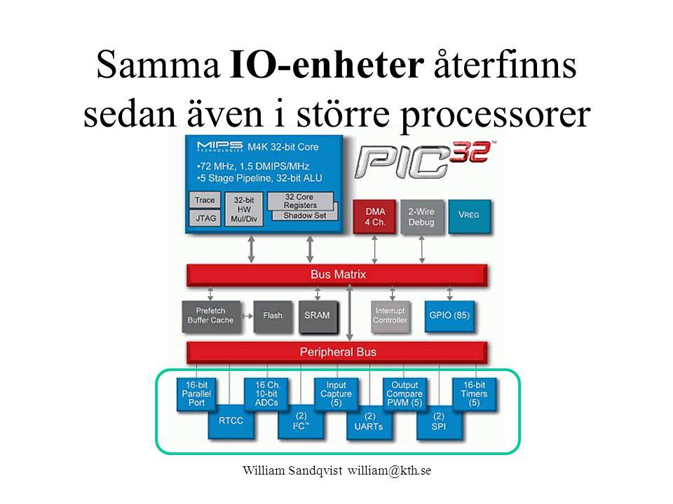 Samma IO-enheter återfinns sedan även i större processorer William Sandqvist william@kth.se