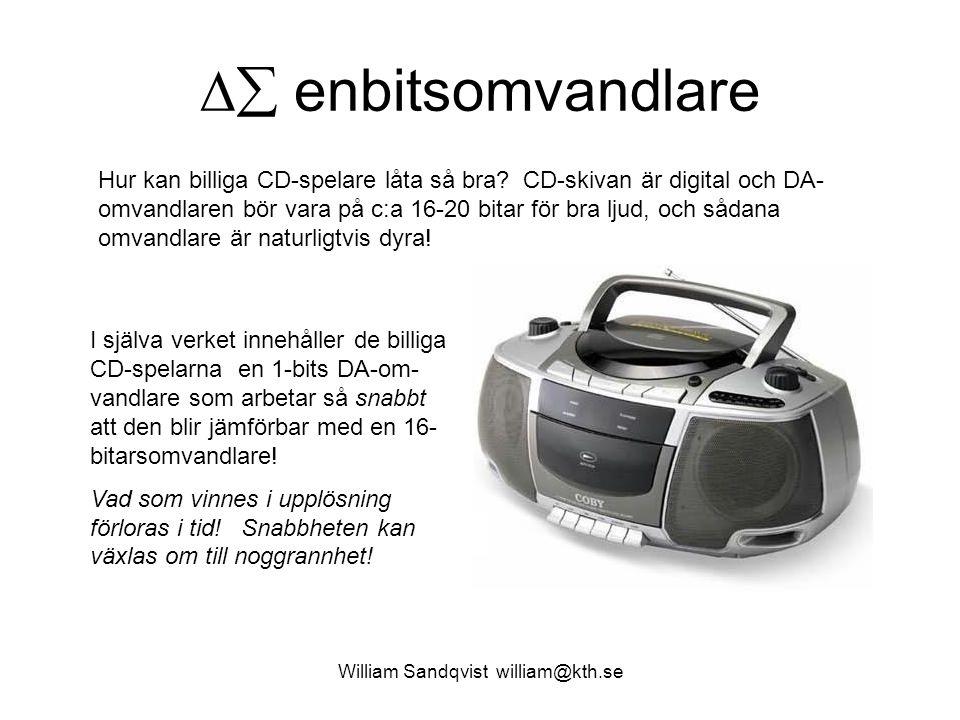  enbitsomvandlare Hur kan billiga CD-spelare låta så bra? CD-skivan är digital och DA- omvandlaren bör vara på c:a 16-20 bitar för bra ljud, och såd