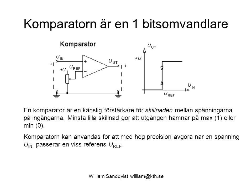 William Sandqvist william@kth.se Komparatorn är en 1 bitsomvandlare En komparator är en känslig förstärkare för skillnaden mellan spänningarna på ingå