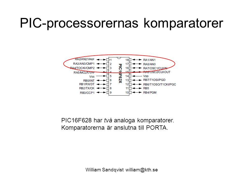 William Sandqvist william@kth.se PIC-processorernas komparatorer PIC16F628 har två analoga komparatorer. Komparatorerna är anslutna till PORTA.