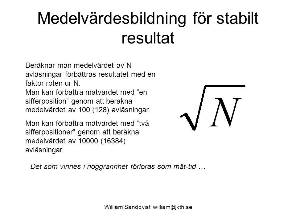 William Sandqvist william@kth.se Medelvärdesbildning för stabilt resultat Beräknar man medelvärdet av N avläsningar förbättras resultatet med en fakto