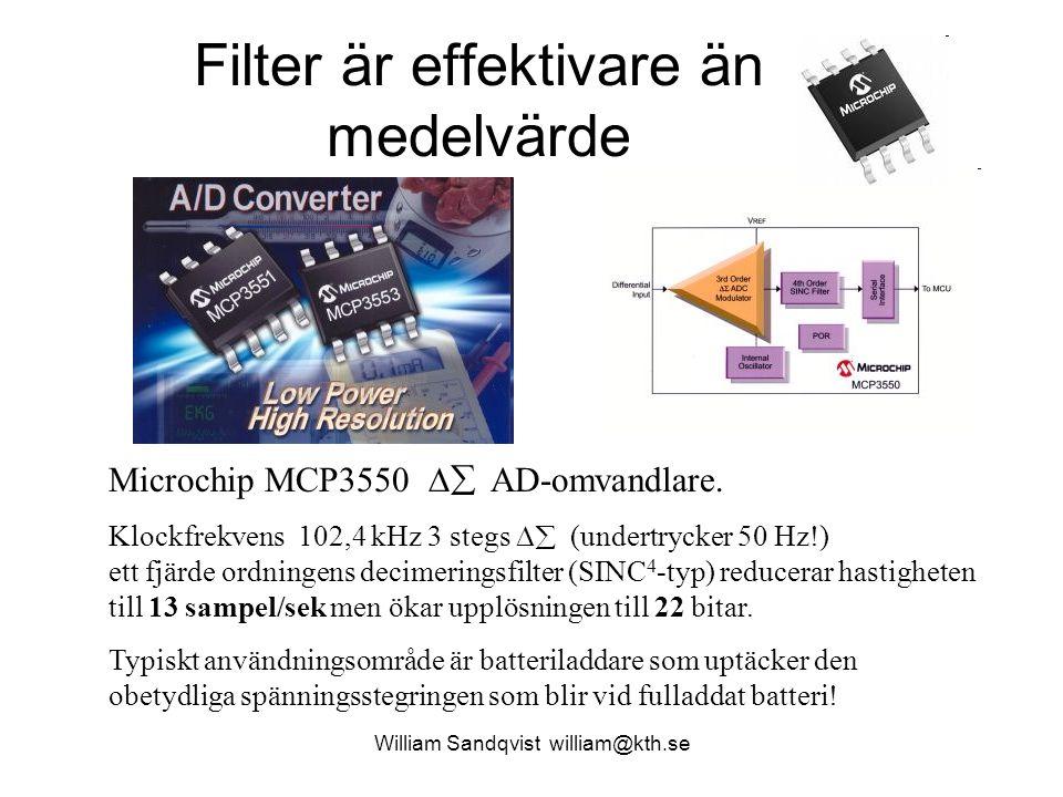 William Sandqvist william@kth.se Filter är effektivare än medelvärde Microchip MCP3550  AD-omvandlare. Klockfrekvens 102,4 kHz 3 stegs  (undertryc