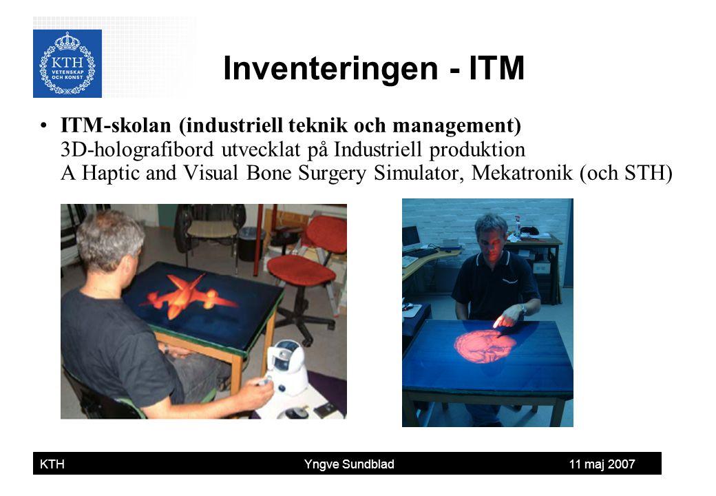 Yngve Sundblad KTH Yngve Sundblad 11 maj 2007 ITM-skolan (industriell teknik och management) 3D-holografibord utvecklat på Industriell produktion A Ha