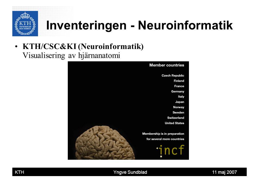 Yngve Sundblad KTH Yngve Sundblad 11 maj 2007 KTH/CSC&KI (Neuroinformatik) Visualisering av hjärnanatomi Inventeringen - Neuroinformatik