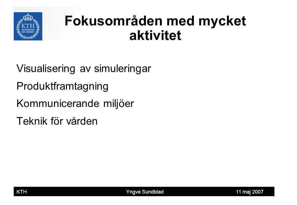 Yngve Sundblad KTH Yngve Sundblad 11 maj 2007 Visualisering av simuleringar Produktframtagning Kommunicerande miljöer Teknik för vården Fokusområden m