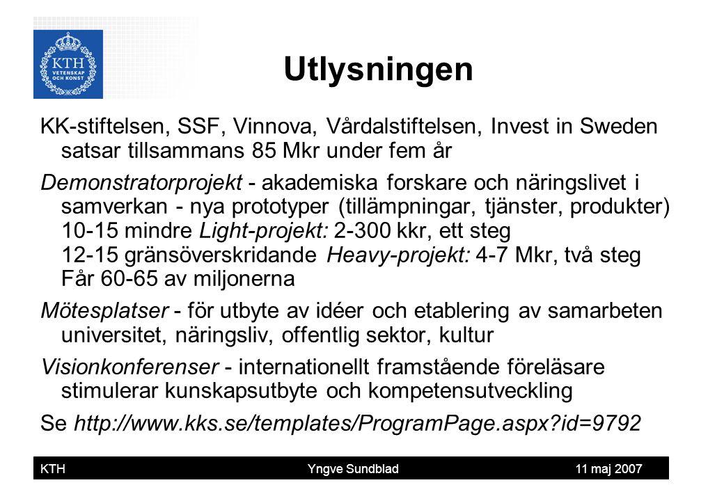 Yngve Sundblad KTH Yngve Sundblad 11 maj 2007 KK-stiftelsen, SSF, Vinnova, Vårdalstiftelsen, Invest in Sweden satsar tillsammans 85 Mkr under fem år D