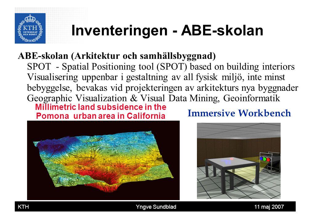 Yngve Sundblad KTH Yngve Sundblad 11 maj 2007 ABE-skolan (Arkitektur och samhällsbyggnad) SPOT - Spatial Positioning tool (SPOT) based on building int