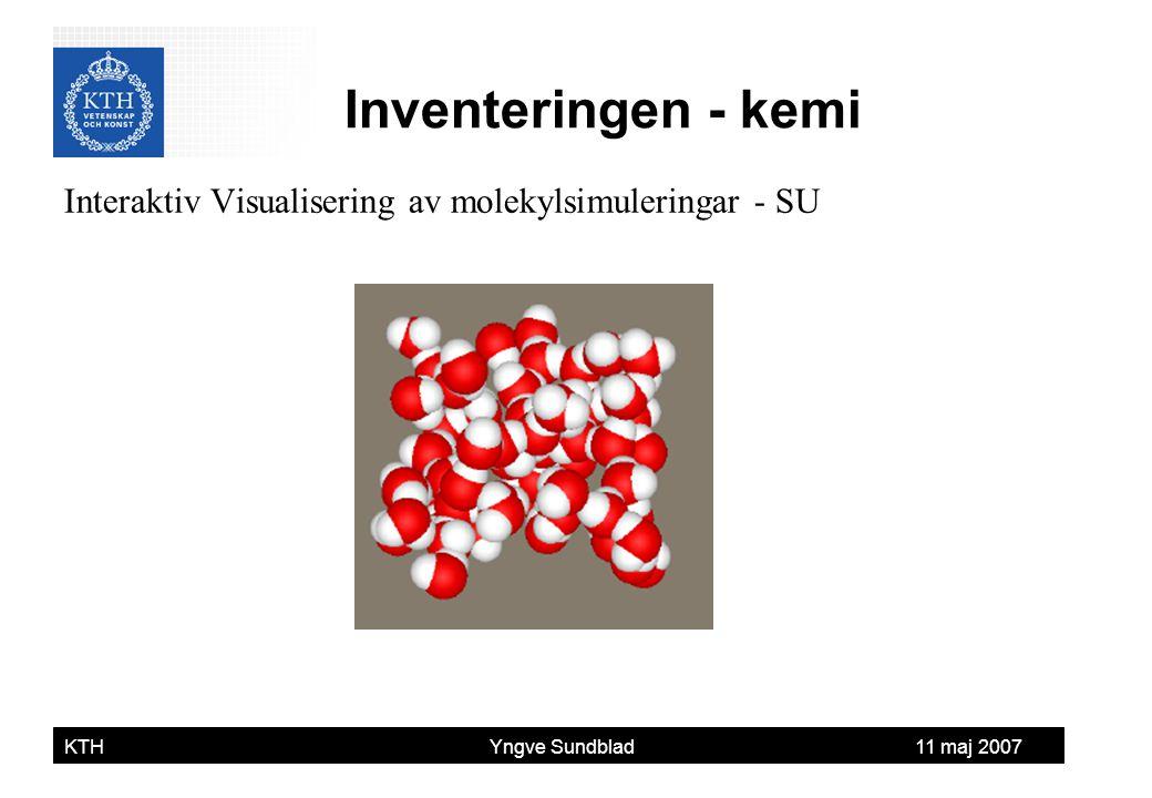 Yngve Sundblad KTH Yngve Sundblad 11 maj 2007 Interaktiv Visualisering av molekylsimuleringar - SU Inventeringen - kemi