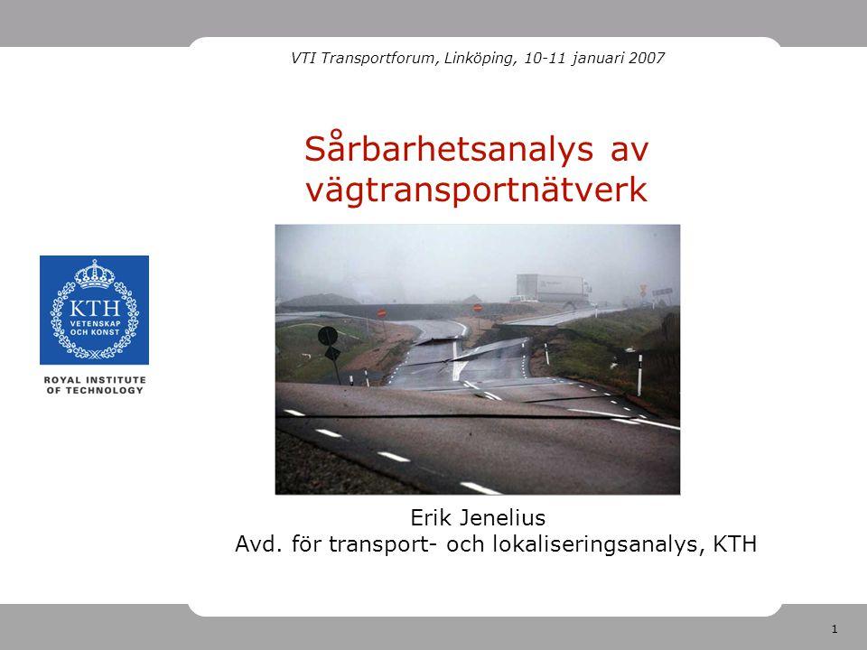 12 Nätverk för hela Sverige Data kommer från Sampers – uppdelat i fem fina regionala och en grov nationell modell Utanför sin region är nätverken för glesa och områdesindelningen för grov Vi har kopplat ihop alla regionala modeller Några länkar i Norge och Finland från nationella modellen har tagits med som alternativa vägar