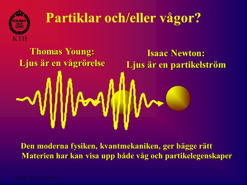 Intro till ME/ A.Karlsson/4 KTH Kvantmekanik Vetenskapens bästa teori.