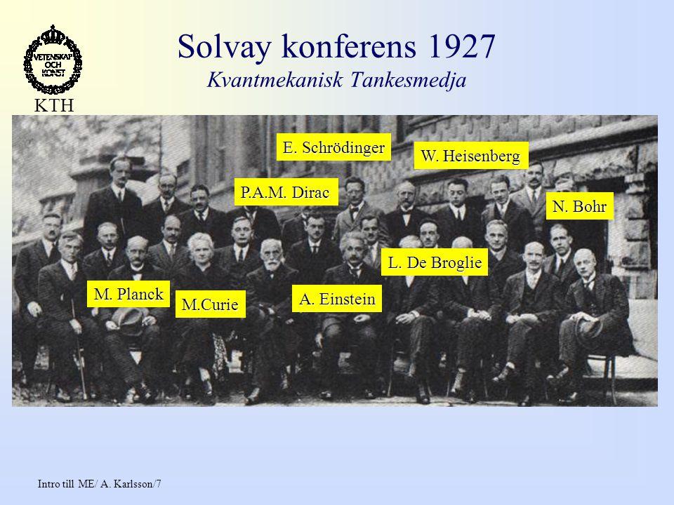 Intro till ME/ A.Karlsson/7 KTH Solvay konferens 1927 Kvantmekanisk Tankesmedja A.