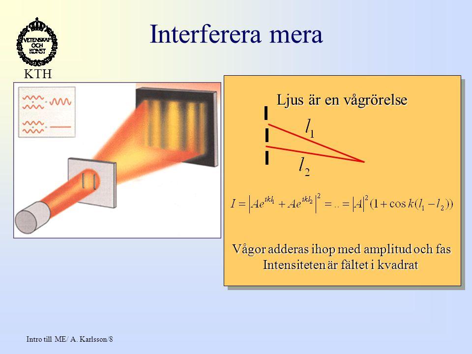 Intro till ME/ A.Karlsson/19 KTH The future of computing 1 atom per bit around 2020 .