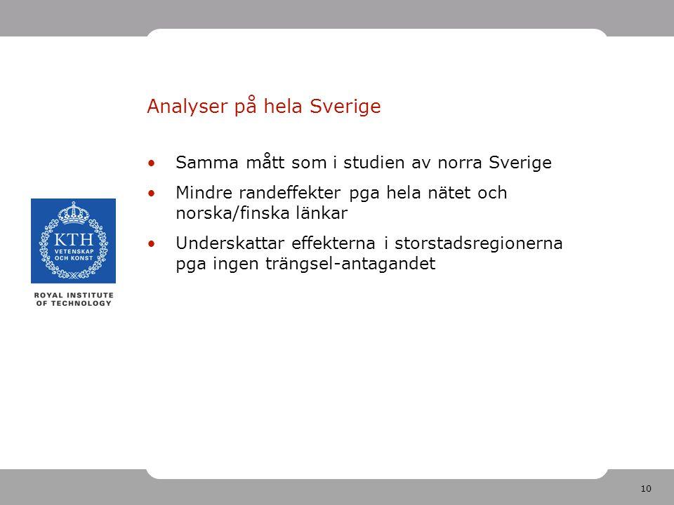 10 Analyser på hela Sverige Samma mått som i studien av norra Sverige Mindre randeffekter pga hela nätet och norska/finska länkar Underskattar effekterna i storstadsregionerna pga ingen trängsel-antagandet