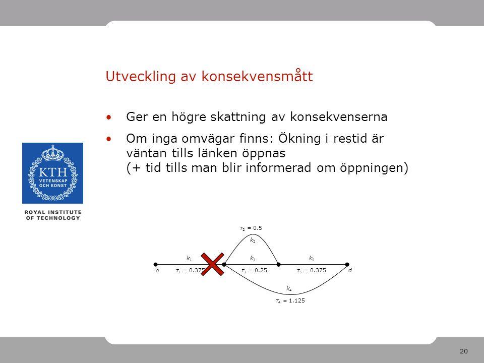 20 Utveckling av konsekvensmått Ger en högre skattning av konsekvenserna Om inga omvägar finns: Ökning i restid är väntan tills länken öppnas (+ tid tills man blir informerad om öppningen) k5k5 k1k1 od k3k3 k2k2 k4k4 τ 1 = 0.375τ 3 = 0.25τ 5 = 0.375 τ 4 = 1.125 τ 2 = 0.5