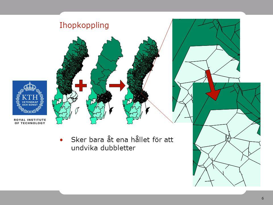 7 Detaljer Efterfrågan till centroid i annan region översätts till närmaste centroid i det ihopslagna nätverket Regionala näten plockas ut efter länskodning i Emme/2 För region Väst, Skåne och nationell saknas länskoder För dessa regioner krävdes manuell kodning i GIS